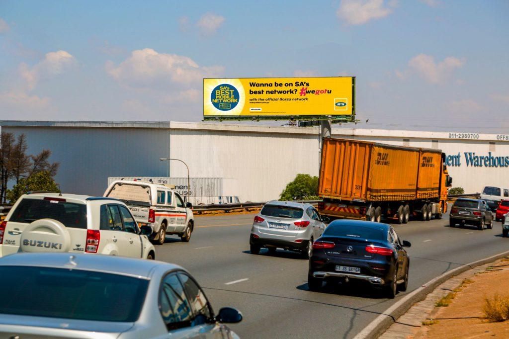 Digital Billboard alongside busy highway in Johannesburg