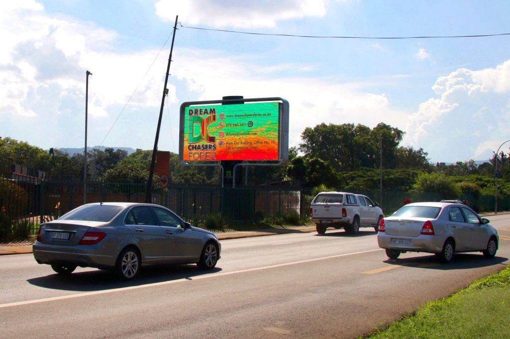 Outdoor Network rotating digital billboard on busy road in Pietermaritzburg